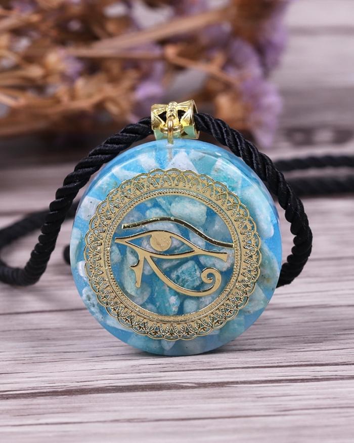 Orgonite Energy Pendant Orgone Amazon Stone Necklace Horus Eye All-Seeing Eyes Devil's Eye Necklace Amulet Magnetic Jewelry