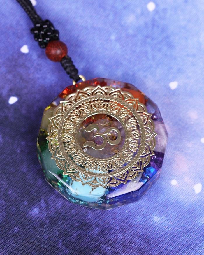 Orgonite Pendant Om Symbol Necklace Chakra Healing Energy Necklace Meditation Jewelry Handmade Professional Dropshipping