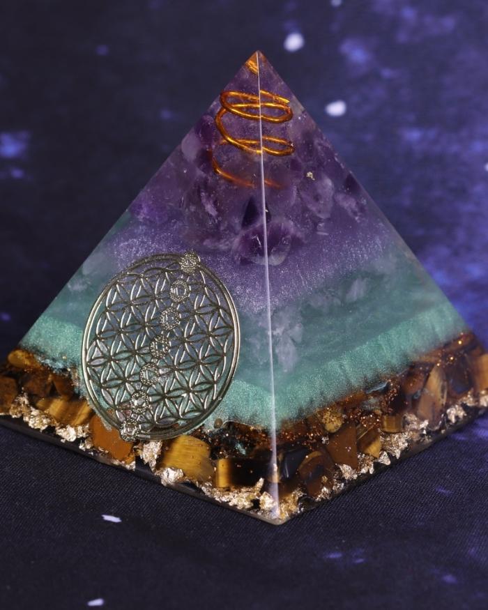 Healing Crystal Gold Wire Orgone Pyramid Stone Figurine Energy Generator For Meditation Reiki Balancing