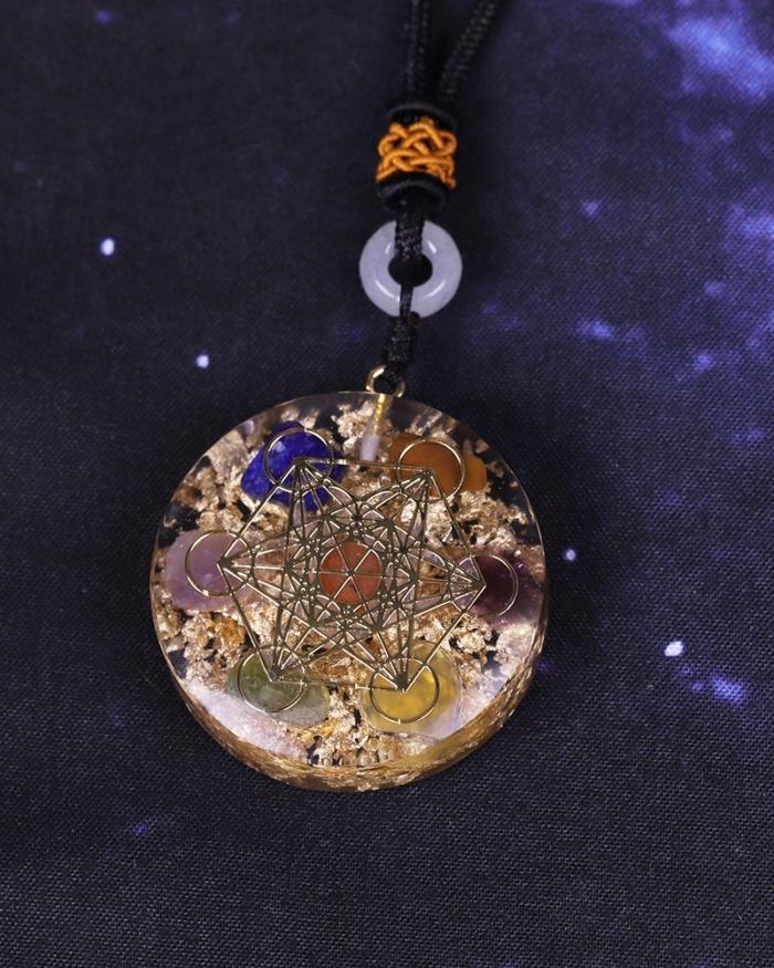 Orgone Pendant Rainbow Crystal Stones Chakra Reiki Healing Energy Generator EMF Radiation Protection Orgonite Necklace