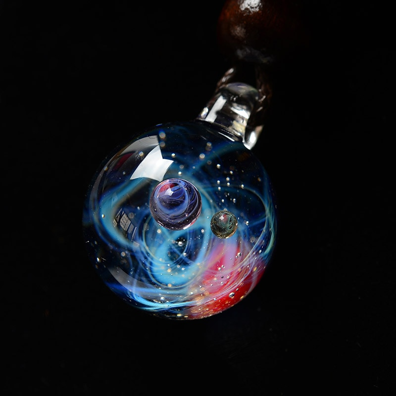 BOEYCJR Universe Glass Bead Planets Pendant Necklace Galaxy Rope Chain Solar System Design Necklace for Women Christams Gift