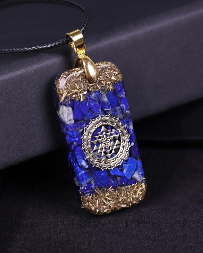 Orgonite Energy Pendant Natural Lapis Lazuli Reiki Energy Necklace Mysterious Resin Chakra Stone Growth Business Amulet