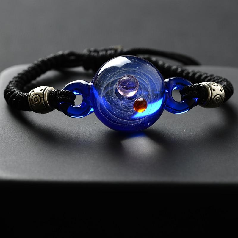 BOEYCJR Universe Planets Glass Bead Bangles & Bracelets Galaxy Fashion Jewelry Galaxy Solar System Bracelet For Women Christmas