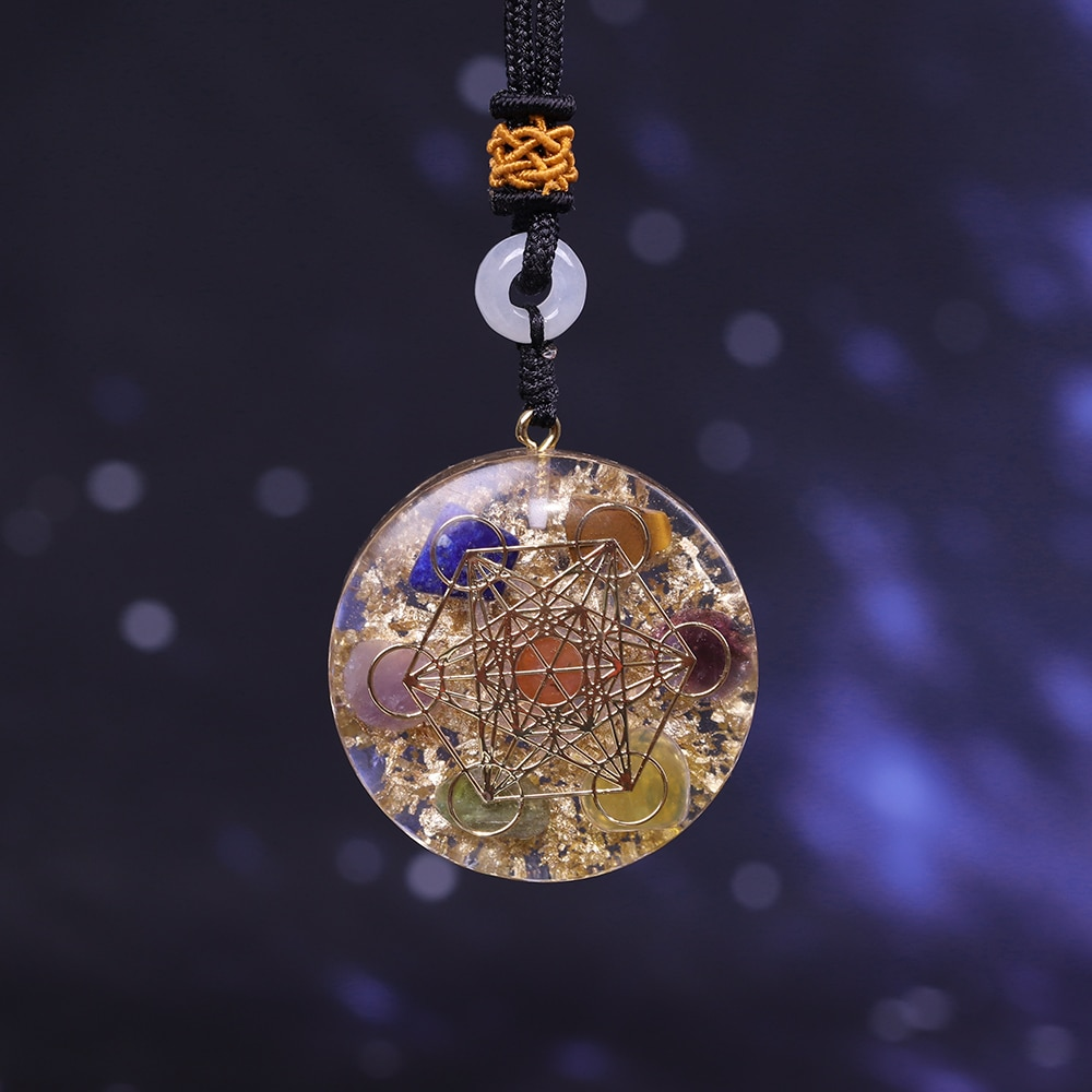Orgone Pendant Rainbow Crystal Stones Chakra Reiki Healing Energy Generator EMF Radiation Protection Orgonite Necklace