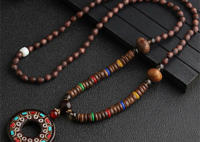 2020 New Ethnic Horn Fish Long Statement Necklace Handmade Nepal Buddhist Mala Wood Beads Pendant & Necklace Jewelry Women Men