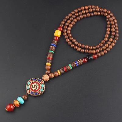 2020 New Vintage Nepal Long Buddhist Mala Wood Beaded Pendant & Necklace Ethnic Bohemian Boho Buddha Lucky Jewelry for Women Men