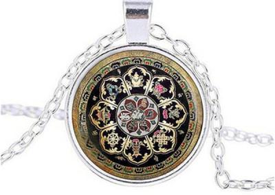 Tibetan Buddhist mandala necklace, Sacred geometry Jewelry , Spiritual gift, men necklace, black men's mandala pendant
