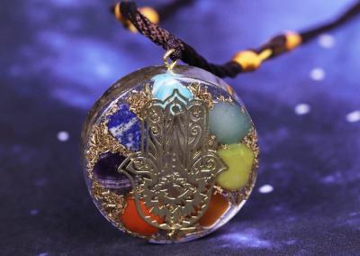 Hand Of Fatifa Orgonite Necklace Energy Stone Chakra Pendant Healing Reiki Yoga Meditation Jewelry Gift