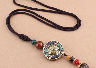 New Vintage Nepal Long Buddhist Mala Wood Beaded Pendant & Necklace Ethnic Bohemian Boho Buddha Lucky Jewelry for Women Men