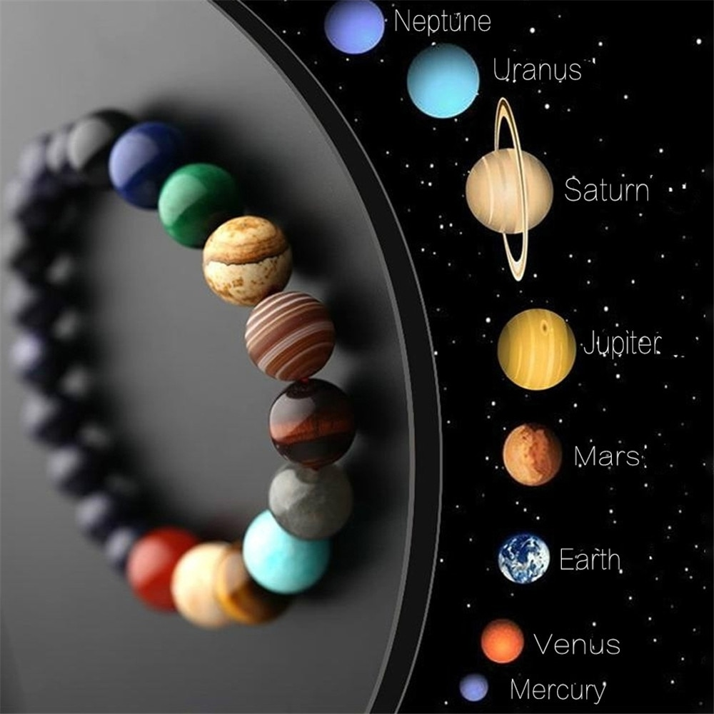 Lovers Eight Planets Natural Stone Bracelet Universe Yoga Chakra Galaxy Solar System Beads Bracelets for Men Women Jewelry