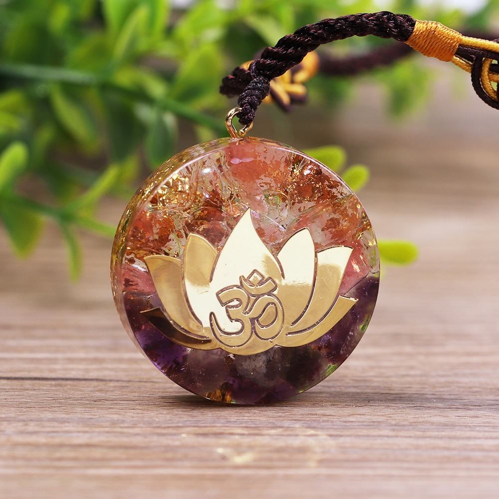 Amethystine Orgone Pendant Lotus Energy Orgonite Necklace Pink Crystal Healing Resin Jewelry Dropshipping