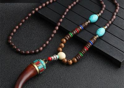 2020 New Ethnic Horn Fish Long Statement Necklace Handmade Nepal Buddhist Mala Wood Beads Pendant & Necklace Jewelry Women Men